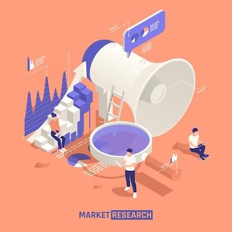 Investigación de mercado isométrica con equipo de personas creativas cerca de gran altavoz y lupa