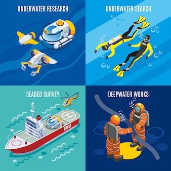 Investigación de profundidades submarinas isométrica