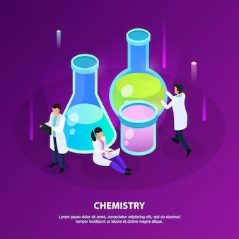 Investigación de química científica durante el desarrollo de vacunas en isométrico morado