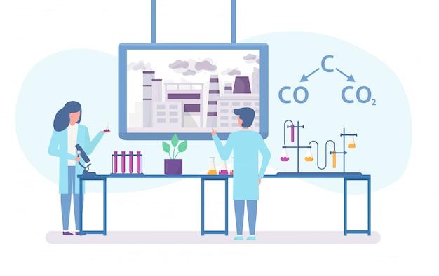 Investigación química en ecología de ciudad contaminada con científicos personas y fórmula química de la contaminación del aire ilustración plana.