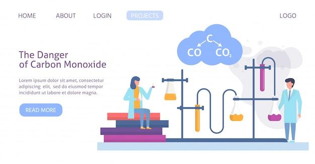 Investigación química en ecología de ciudad contaminada con científicos personas y fórmula química de la ilustración de plantilla de sitio web de contaminación del aire.