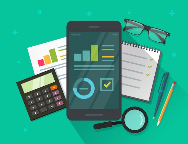 Investigación de resultados de datos analíticos en la ilustración de la pantalla y la mesa del teléfono móvil en estilo de dibujos animados plana