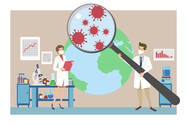 Investigación sobre coronavirus, pandemia, concepto de epidemiología