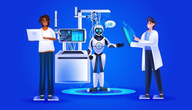 Investigadores que controlan lindo robot cyborg con concepto de tecnología de inteligencia artificial de habla hola ilustración vectorial horizontal de longitud completa
