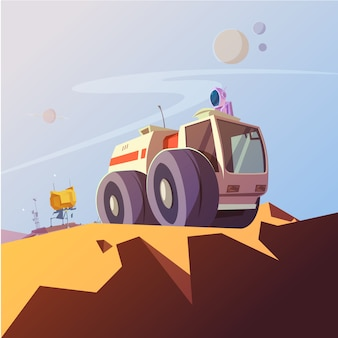 Investigue el fondo de la historieta del vehículo y del cosmonauta con la ilustración del vector del equipo del astronauta