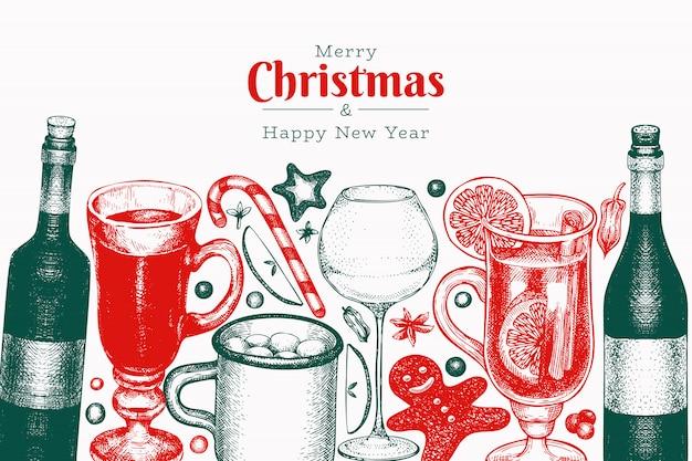 Invierno bebidas plantilla de diseño vectorial.