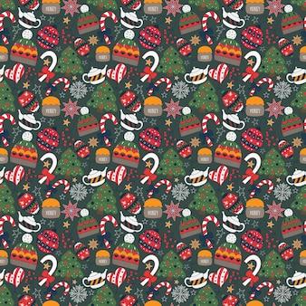 Invierno doodle de patrones sin fisuras con árbol, tetera, juguetes, dulces, sombrero.