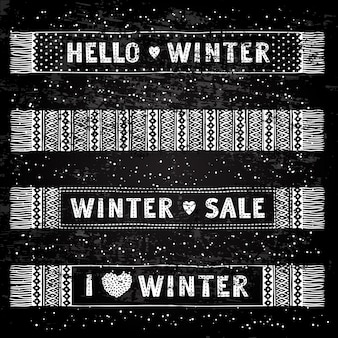 Invierno especial banner o etiqueta con bufandas de lana tejidas
