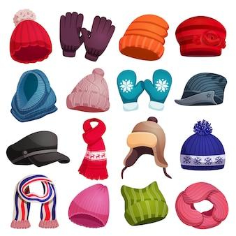 Invierno estacional bufanda sombreros gorras guantes mitones conjunto con dieciséis imágenes coloridas aisladas ilustración