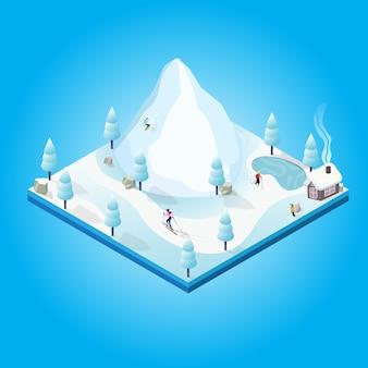 Invierno isométrico con gente snowboard y chico hacer un muñeco de nieve