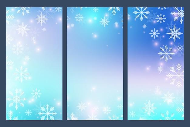 Invierno moderno conjunto de banners. plantillas de diseño con copos de nieve.