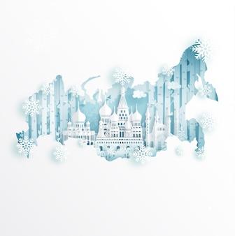 Invierno en moscú, rusia con el concepto de mapa para viajes y concepto de publicidad tour