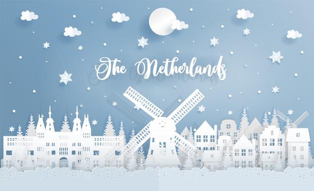 Invierno y navidad en los países bajos con hito