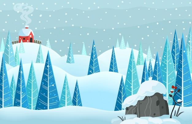 Invierno nieve bosque horisontal paisaje con casa en la colina