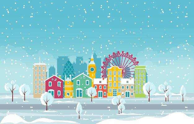 Invierno nieve en la ciudad de londres paisaje urbano skyline landmark building ilustración