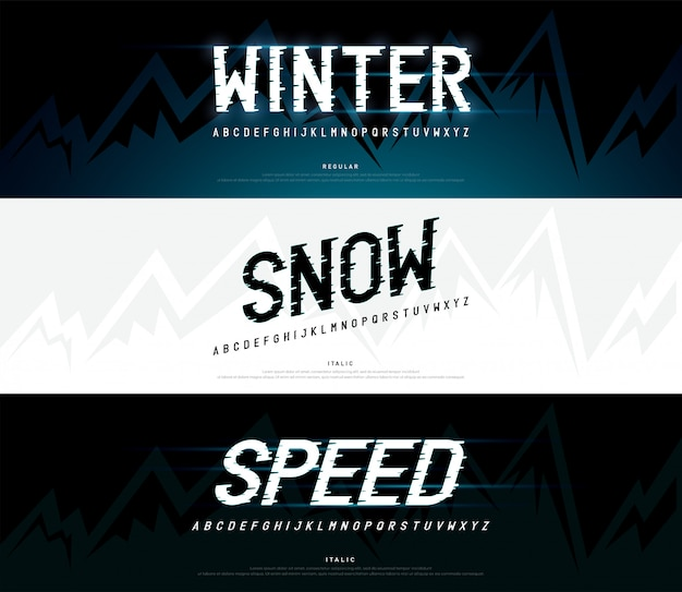 Invierno, nieve fuentes del alfabeto moderno