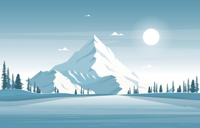 Invierno nieve pino montaña calma naturaleza paisaje ilustración