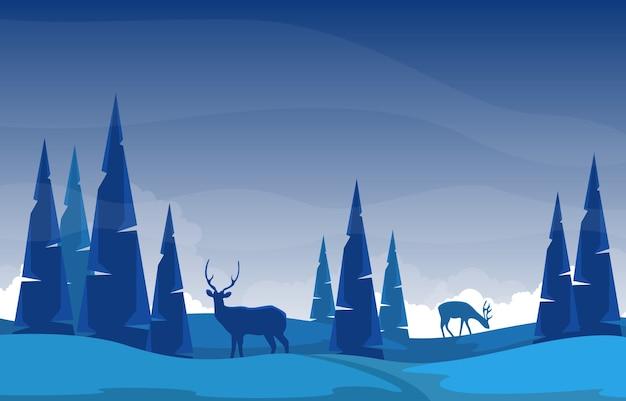 Invierno nieve pino montaña ciervos naturaleza paisaje ilustración