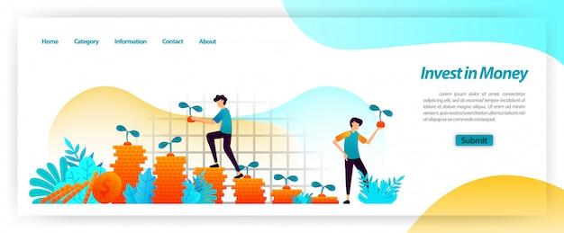 Invierta activos financieros en efectivo y haga crecer su negocio con planificación, préstamos e inversiones de capital para obtener un beneficio creciente. plantilla web de página de aterrizaje