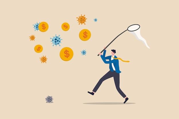 Invierta en el brote de coronavirus, la empresa y el negocio para ganar dinero y sobrevivir en el concepto de crisis económica covid-19, empresario inversionista arriesgado corriendo en el patógeno covid-19 para atrapar el dinero de la moneda de un dólar.