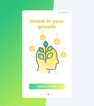 Invierta en crecimiento personal diseño de interfaz de usuario móvil