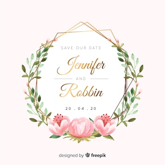 Invitación en acuarela de boda