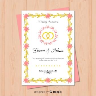 Invitación adorable de boda con marco dorado