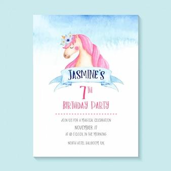 Invitación adorable del unicornio de la acuarela, diseño lindo y femenino de la invitación del cumpleaños del unicornio.