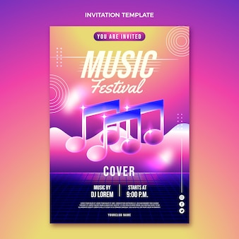 Invitación al festival de música degradado