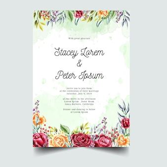 Invitación anaranjada roja de la boda de la acuarela de la rosa dulce