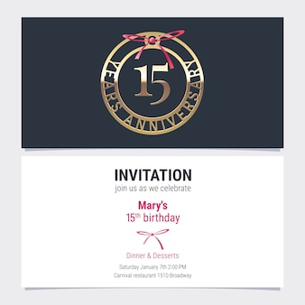 Invitación de aniversario de 15 años a la ilustración de vector de evento de celebración. elemento de diseño con número y texto para tarjeta de cumpleaños número 15, invitación a fiesta