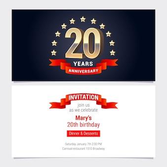 Invitación de aniversario de 20 años a la ilustración de celebración.