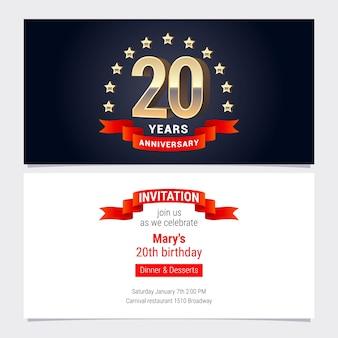 Invitación de aniversario de 20 años a la ilustración de vector de celebración. elemento de diseño gráfico con número de oro para tarjeta de cumpleaños número 20, invitación a fiesta