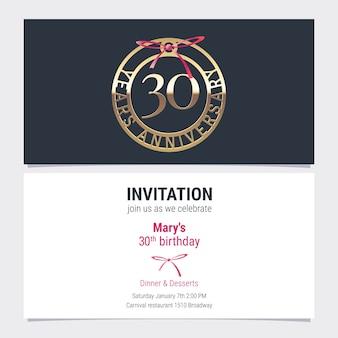 Invitación de aniversario de 30 años a la ilustración de vector de evento de celebración. elemento de diseño con número y texto para tarjeta de cumpleaños número 30, invitación a fiesta
