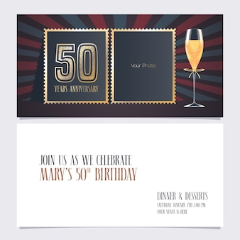 Invitación de aniversario de cincuenta años con collage de foto vacía para invitación de fiesta de 50 aniversario