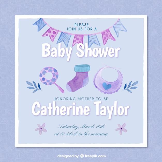 Invitación azul a fiesta del bebé en acuarela