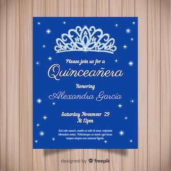 Invitación azul a fiesta de quinceañera