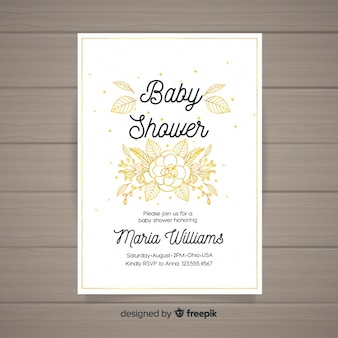 Invitación para baby shower en acuarela