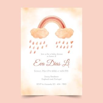 Invitación de baby shower de chuva de amor de acuarela pintada a mano