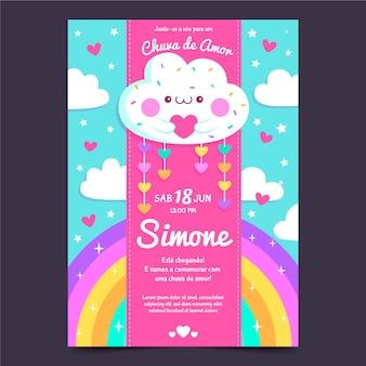 Invitación de baby shower de chuva de amor de dibujos animados