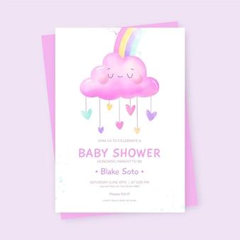 Invitación para baby shower de chuva de amor