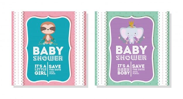 Invitación de baby shower con dibujos animados de elefantes y perezosos