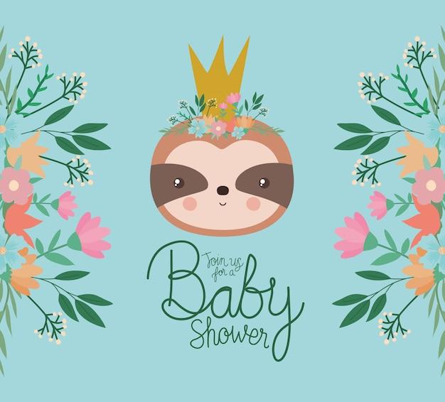 Invitación de baby shower con dibujos animados de pereza
