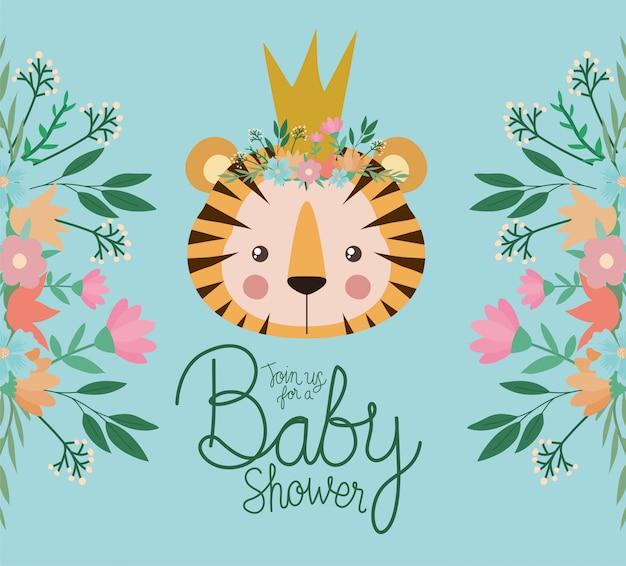 Invitación de baby shower con dibujos animados de tigre