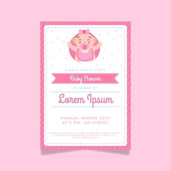 Invitación de baby shower ilustrada para niña