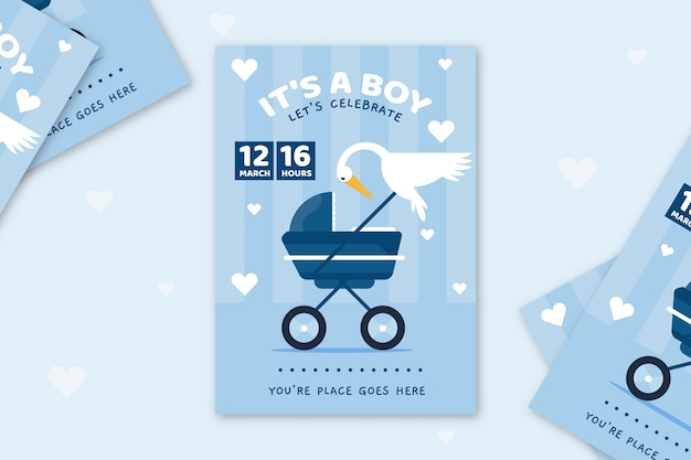 Invitación de baby shower ilustrada