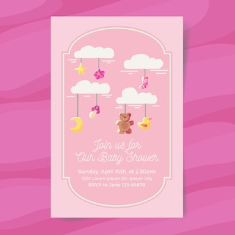 Invitación de baby shower de niña