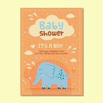 Invitación de baby shower para niño con elefante