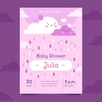 Invitación para baby shower orgánica plana chuva de amor
