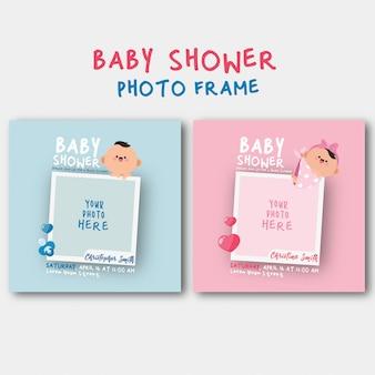 Invitación de baby shower con plantilla de marco de fotos